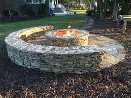 How To Build A Stone Firepit by Classic Half Moon Stone Firepit With Gas Starter Outdoor