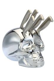 kitchen skull knife holder with 5 kitchen knives with white or
