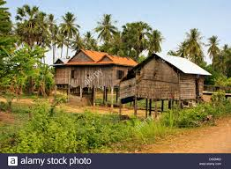 stilt houses in a small village near kratie cambodia southeast