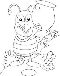honey bee collecting honey sweet coloring pages download free