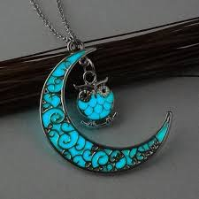necklace with stone images Glowing stone half moon owl necklace jpg
