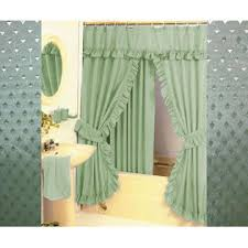 Double Swag Shower Curtain With Valance Olive Green Shower Curtain