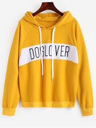 letter pattern hoodie bright yellow sweatshirts l zaful