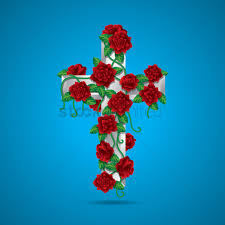holy cross with flowers vector image 1523993 stockunlimited