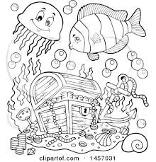 clipart black white sunken treasure chest fish
