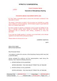 outcome of disciplinary hearing letter to download