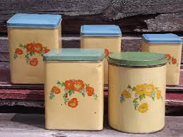 green canister sets kitchen cottage kitchen vintage metal canisters set flowers w blue green