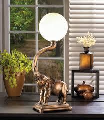 trumpeting elephant polyresin base white globe lamp 15w unique