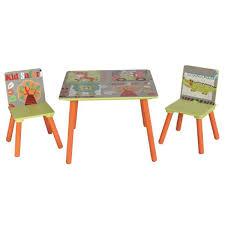 m chaises ensemble table et 2 chaises pour enfant en bois motif animaux