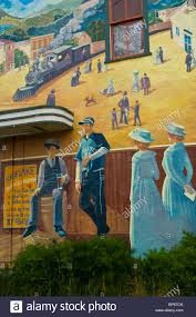 Painted Wall Mural Painted Wall Mural Showing Victorian Era Life In The Early 1900 S