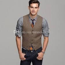 unique mens 2018 2017 brown wool herringbone tweed vest mens suit vests slim
