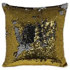 buy gold sequin pillows from bed bath beyond