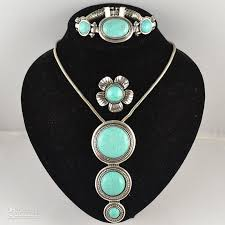 tibetan silver turquoise necklace images 2018 tibetan silver turquoise stone vintage jewelery sets ring jpg