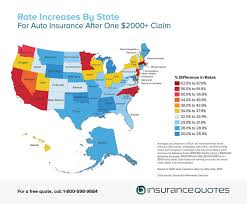 New Mexico On The Map Auto Insurance Rate Increase After One Claim By State Map
