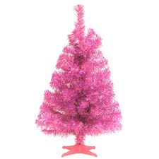 national tree company 2 ft pink tinsel artificial christmas tree