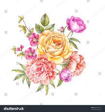 Invitation Card With Photo Vintage Garland Blooming Roses Peonies Sakura Stock Illustration