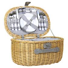 oval 4 person willow wicker picnic basket set charles bentley
