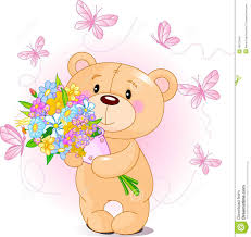 pink teddy bear with flowers royalty free stock images image