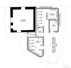 ground plan chamfered corners green roof and circle motifs soften impact of
