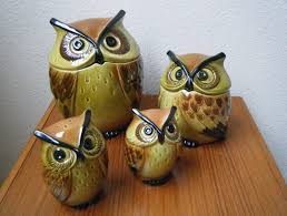 rare metlox poppytrail ceramic owl kitchen set cookie jar