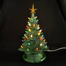 vintage style ceramic christmas tree 11 inches lights glued in