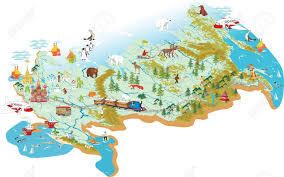 Moscow On Map Cartoon Map Of Russia With A Symbol Of Moscow St Basil S