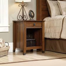 sauder carson forge 1 drawer coffee oak nightstand 419078 the