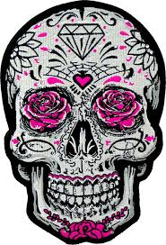 white sugar skull pink roses rhinestones s back patches