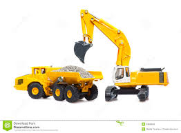 toy cable excavator and heavy truck stock photo image 53680090
