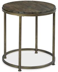 Wood And Metal End Table Link Wood Round End Table Furniture Macy U0027s