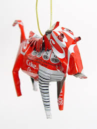 Coca Cola Christmas Ornaments - tin ornament set recycled tin ornaments