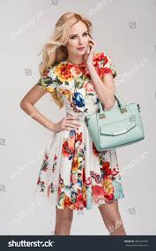 beautiful young blonde woman nice spring stock photo 384423160