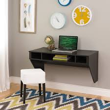 contemporary dark brown wooden wall mounted desk for laptop