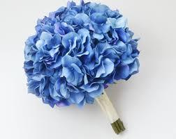 hydrangea bouquet royal blue hydrangea etsy
