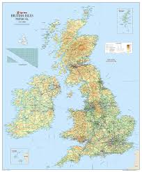 Map Of The British Isles Large British Isles Uk Physical Map Paper Laminated 120 X 100 Cm