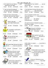 Connectives And Conjunctions Worksheets And But Because So Worksheet Free Esl Printable Worksheets Made