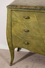 Thomasville Bedroom Furniture 1980s Vintage Shagreen Three Drawer Bogart Collection Bombe Chest By