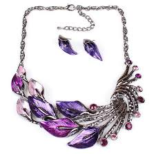 earrings with statement necklace images Online cheap fashion girl women 39 s peacock feathers design enamel jpg