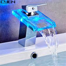 single hole led light glass bathroom waterfall sink faucets basin