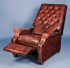 english antique style red leather recliner