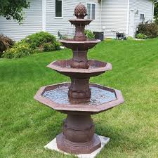 sunnydaze 4 tiered pineapple electric outdoor water fountain
