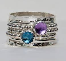 stacked birthstone rings handmade stackable mothers rings stack bangles custom emgraved