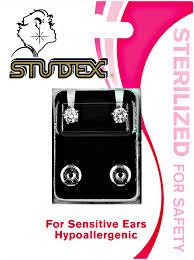 studex studs studex cubic zirconia sterilized piercing earrings stainless steel