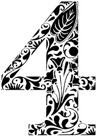 ornament flower number 4 silhouettes numbers