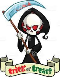 Halloween Skeleton Art Cute Cartoon Grim Reaper With Scythe Isolated On White Cute