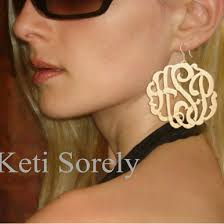 monogram earrings large monogram earrings yellow or gold keti sorely designs
