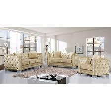 velvet sofa set meridian furniture 648be s reese beige velvet sofa w tufted back