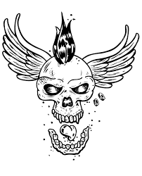 free coloring page coloring tatouage skull skeleton wings a