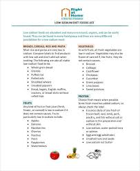 food list sample 9 examples in word pdf