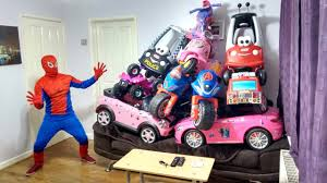 frozen power wheels sleigh 10 awesome ride on cars on sofa spiderman surprise prank power
